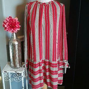 Loft Red Striped Dress  sx S